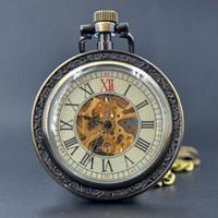 Wholesale Fashion Bronze Mechanical Hand Wind Pocket Watch Roman Numerals Skeleton Gears Watch Men Women Watch Large Dial Chain Gift Box