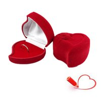 Wholesale Heart shaped luxury velvet jewelry box case With rose Earrings Ring Packaging Display Storage Case for Valentine s Day lovers gifts