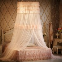Wholesale Fashion Luxury Brand Mosquito Net for Double Bed Princess Palace Style Red Wedding Lace Bed Curtain Canopy Bed Curtain Hanging Mosquiteiro