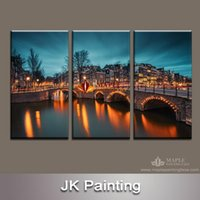 artist bridge - home decoration painting Bridge Landscape image Artist Picture Canvas Printing of Scenery Wall Art Painting for living room decorative paint