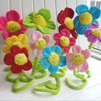 Wholesale cm Height Cartoon Plush Sunflower Curtain Buckle Simulation Fabric Flower Home Party Wedding Decoration Creative Gifts