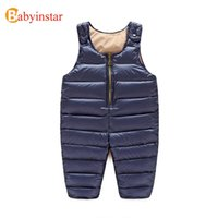 baby bibs apparel - 2016 New Winter Warm Children Overalls Yrs Baby Winter Apparel Outfits Thick Bib Trousers Boys Girls Down Overalls
