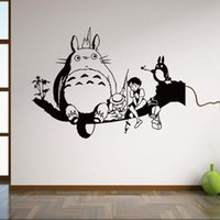 Wholesale Totoro Posters Black Wall Art Decals Removable Cartoon Wall Sticker for Kids Home Decor Anime Poster vinilos infantiles cm