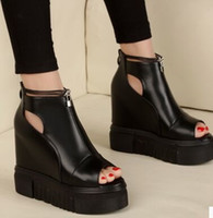 Wholesale New Arrival Hot Sale Peep Toe Fashion Knight Star Leather Princess Super Increased Noble Hollow Black Casual Wedge Sandals EU34