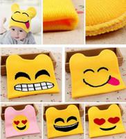 baby beanie knitting pattern - New Emoji Warm Woolen Knitted Caps Baby Kids QQ Expression Pattern Beanie Skull Caps Cartoon Cat Ears Modeling Hat