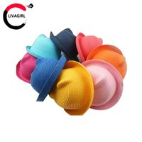 Wholesale Straw Hats Summer Baby Ear Decoration Lovely Character Girls And Boys Sun Hat Solid Floppy Panama