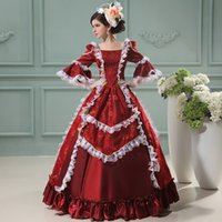 Wholesale Hot Sale Marie Antoinette Princess Dress Wine Red Floral Printed Renaissance Court Lace Princess Dress Period Costumes For Women
