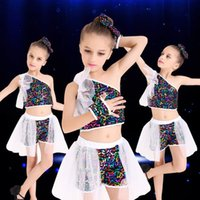 Wholesale Children s dance clothes Colorful side sequins Modern jazz dance performance Costumes Performance costumes Summer