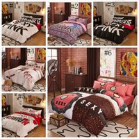 Wholesale Pink Bedding Set VS Duvet Covers Pink Letter Bed Sheet Bedclothes Set Leopard Flower Pillowcases Fashionable Bedding Home Textiles OOA1067