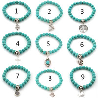 Wholesale 2016 Fashion Bohemian Charm Bracelet Femme Bohemian Turquoise Bracelets Silver Pendants Bracelets for Women Men Jewelry Christmas Gifts