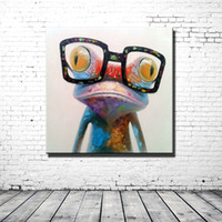 Wholesale Framed Happy Frog Wearing Glasses Pure Hand Painted Modern Cartoon Animal Art Oil Painting Home Wall Deco On High Quality Canvas Multi sizes