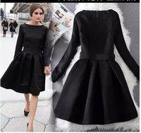 al por mayor vestido largo de jacquard-Olivia Palermo Elegante Negro Vestidos Jacquard de manga larga Vintage Hoppen Estilo A-línea de vestidos de bola Slim Midi Vestidos Casual para el Trabajo