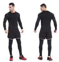 Wholesale running fitness clothing compression shirts dry suit workout clothes tracksuit men