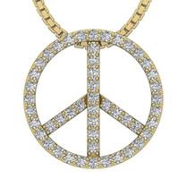 achat en gros de pendentif diamant de paix-Peace Circle Pendant SI1 G 0.50Ct Real Diamond 14KT Yellow White Gold Assessment