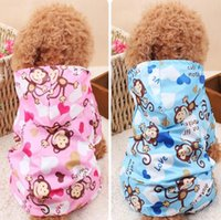 animal print raincoat - Hot sales dog clothes Light waterproof pets clothing Cartoon print cute monkey with a hat four foot dog raincoat for puppy colors