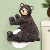 bear toilet paper holder - Luxury Handmade Resin Bear Toilet Roll Paper Holder Wall Mount Toilet Paper Holder Bar Creative Cute Animal Bathroom Tissue Rack