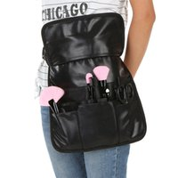 Wholesale Professional PU Cosmetic Brush Bag Pockets With Big Compartments Makeup Brush Bag Apron with Artist Belt Strap Organizer