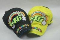 Wholesale bTHE DOCTOR VRFORTYSIX Motorcycle Caps Hat For Valentino Rossi Signature black yellow Sun Visors Baseball Cap