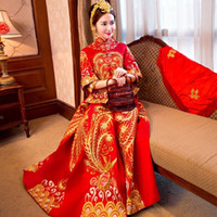 Wholesale Chinese troditional red wedding dress New style Xiuhe suit Bridal gown Chinese big phoenix gown layer sleeve Chinese festival clothing