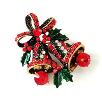bell view - New View Green Leaf Red Ribbon Double Holly Bells Christmas Brooch Gold Tone Colored Crystal Pave Vintage Holiday Jewelry Pin