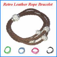 Wholesale Retro Leather Rope Bracelet for party Banquet Womens Ladies Jewelry Headgear Ornaments Beautiful Bracelet Colors PU acc239