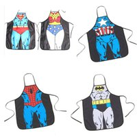 Wholesale 2016 New Super hero Hot Novelty Sexy Funny Kitchen D Superwoman Cooking Aprons Night Party Fancy Dress Superman Aprons