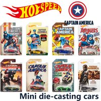 Wholesale hot wheels Mini Alloy cars Super hero Captain America metal Basic Cars Diecast Vehicle model Racing car kids toys