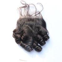Precio de La india al por mayor del pelo natural-Cierres de Funmi de la tía con la pieza libre del pelo del bebé 100% sin procesar Cierre rizado de encaje rizado de Funmi de la venta al por mayor