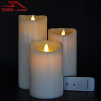 Wholesale Flickering Flameless Pillar LED Candles Set of with Real Wax Dancing Flame Pillar Candle for Decoration