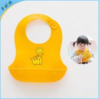 Fashion baby bib with pocket - New styles soft folding feeding bib with pocket silica gel baby bib washable silicone waterproof bib