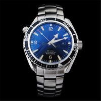 Wholesale Luxury Brand Men OM Auto Watch Stainless Band Blue Dial original clasp Sea Master Planet Ocean Watch relojes Fashion waterproof clock