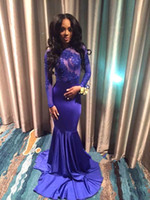 Wholesale Mermaid royal blue backless Jewel appliques lace cheap evening gowns plus size black girl long sleeve prom dresses