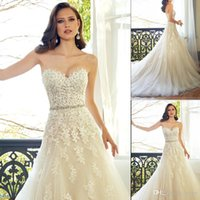 Wholesale Sexy Gorgeous D Floral Appliques A Line Wedding Dresses Sleeveless Lace Strapless Sashes Lace up Classic Court Train Bridal Gown