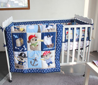 anchor comforter - active printing cotton baby boy crib bedding set blue pirate anchor cot bedding comforter bumper bedsheet hot sale nursery accessories