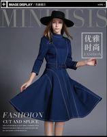 bell swing - 2016 autumn women s new European temperament denim skirt simple fashion commuter large swing dress Hot Sale
