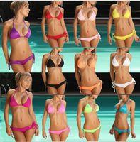 beach suits - Women Sexy Bikini candy color Swimwear Summer Beachwear Push Up Bikini Set Padded Beach Bras Swimsuit Bathing Suits KKA1287