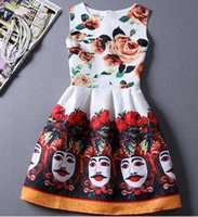 ball facebook - Europe Summer New Facebook Temperament Printed Slim Comfortable Waist Sleeveless Tutu Dress