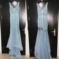 beaded neckline dress - 2016 Evening Dresses Deep V Neckline Light Blue Sequins Beaded Court Train Sheer Real Images Prom Dresses