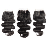 Wholesale Body Wave Lace Closure Bleached Knots Brazilian Body Wave Human Hair Closure Free Middle Part Human Hair Top Lace Closure