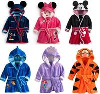 Wholesale Children Cartoon Minnie Mickey Mouse bathrobe Coral fleece Kids Tiger robes Baby The Little Mermaid toweling robe Boy Girl bath wear