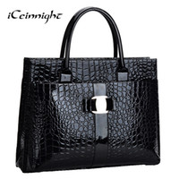 low price handbags - Lowest price Crocodile Pattern Black Red Leather Bags Women Handbag With Metal Logo bolsa feminina dollar shop online handbags