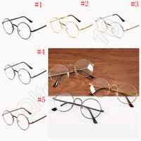 Wholesale Metal Round Sunglasses Frames Men Women Eyeglass Frames Lenses Lenses Optical Plain Light Retro Students Decorate OOA1140