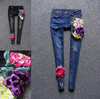 Wholesale 2017 spring brand women s fashion jeans female embroidery was thin elastic feet pants Korean Slim pencil pants
