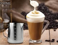 Wholesale 550ML Stainless steel coffee cup Pull Flower Cup Mugs Metal Cup Fancy Coffee with calibration Milk Cups Durable