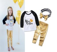 band t shirts cheap - Letter T shirt gold leather pants hair band girls fashion suit cheap baby spring autumn clothes children clothes set A45