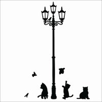 Wholesale high quality Popular Ancient Lamp Cats and Birds Wall Sticker Wall Mural Home Decor Room Kids