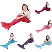 Wholesale Kid knitted Mermaid Super Soft Crocheted Mermaid Tail Blanket Knitting kids Adult Sofa Sleeping Bag mermaid blanket colours