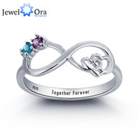 amethyst promise rings - Personalized Infinite Love Promise Ring Couple Stone Sterling Silver Cubic Zirconia Ring Free Gift Box JewelOra RI101783