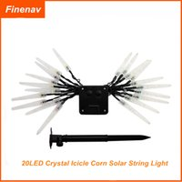 Wholesale LED Crystal Icicle Corn Solar Garden Outdoor String Light Decoration Holiday Lighting SS
