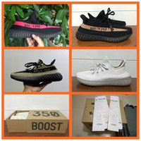 apricot flats - with Original Box best quality SPLY boost v2 kanye west black apricot pink green white grey Stripe sport sneakers running shoes